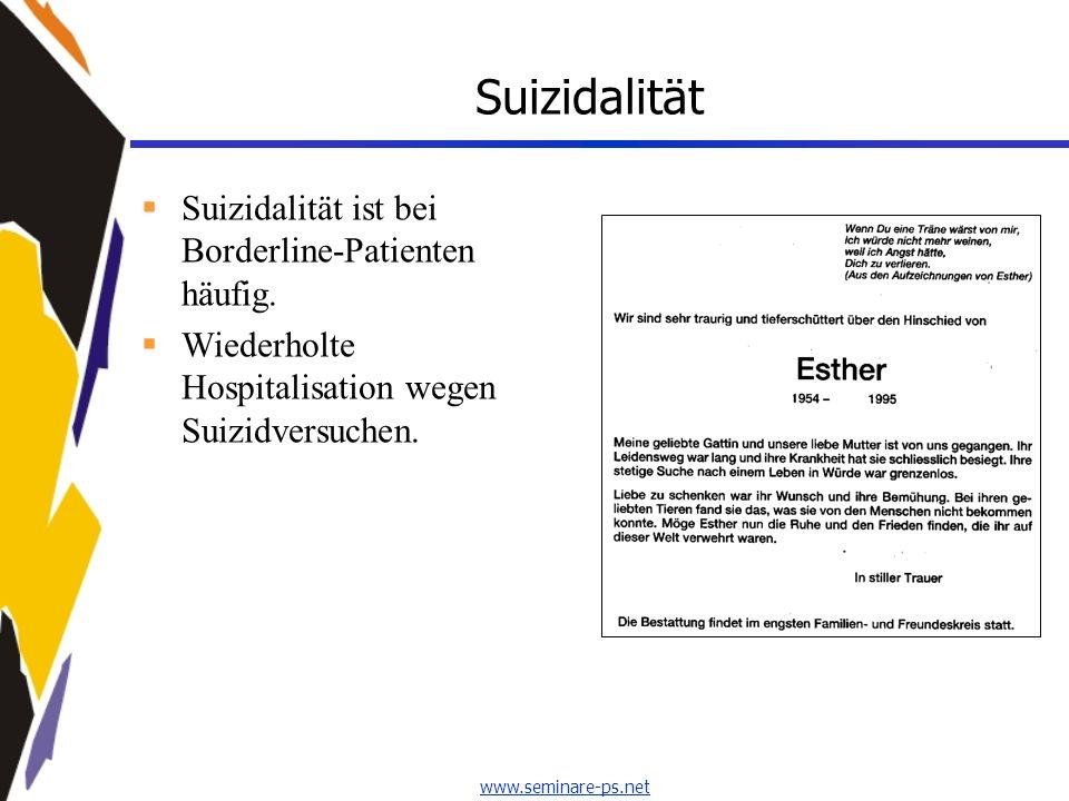 Suizidalität Suizidalität ist bei Borderline-Patienten häufig.