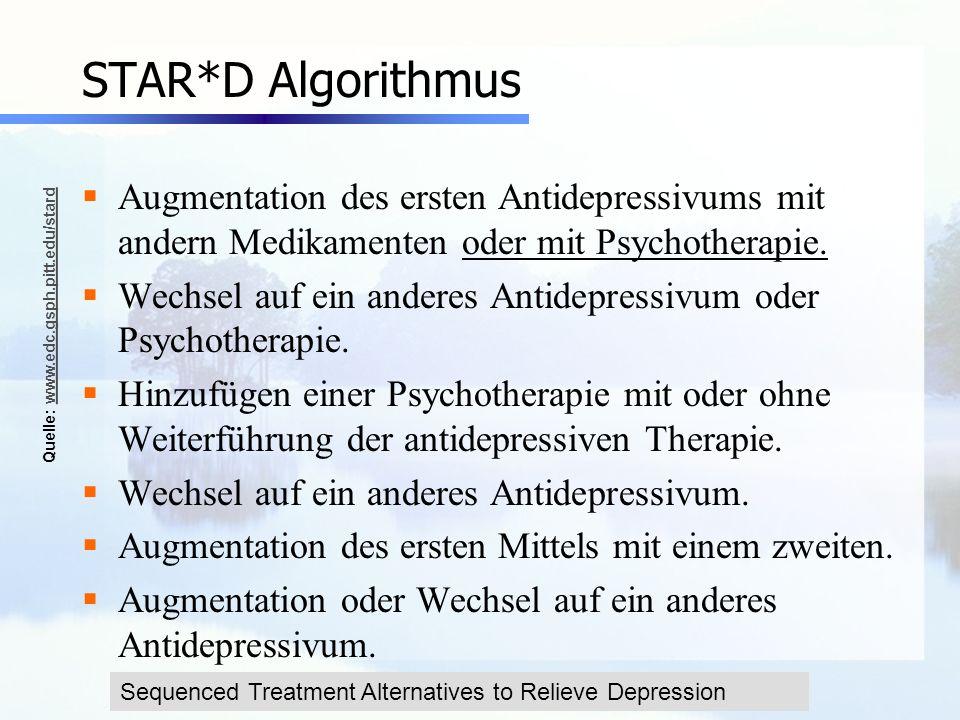 STAR*D AlgorithmusAugmentation des ersten Antidepressivums mit andern Medikamenten oder mit Psychotherapie.