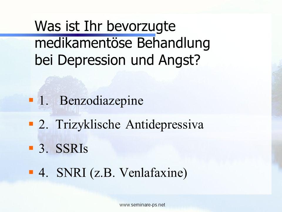 Was ist Ihr bevorzugte medikamentöse Behandlung bei Depression und Angst