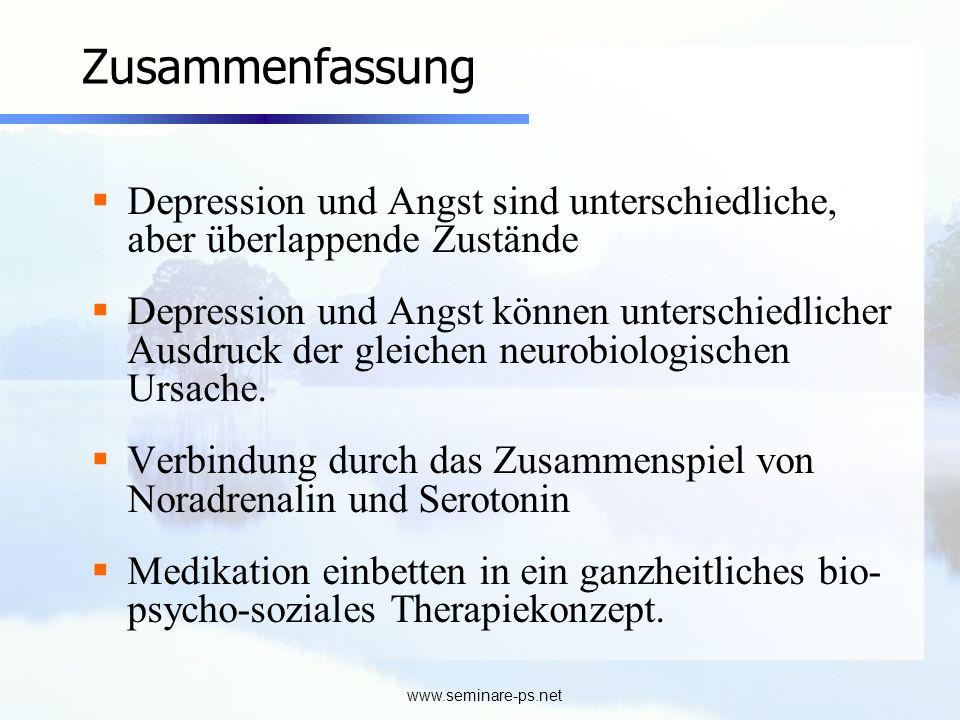 Zusammenfassung Depression und Angst sind unterschiedliche, aber überlappende Zustände.
