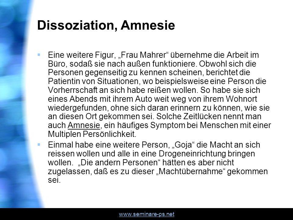 Dissoziation, Amnesie