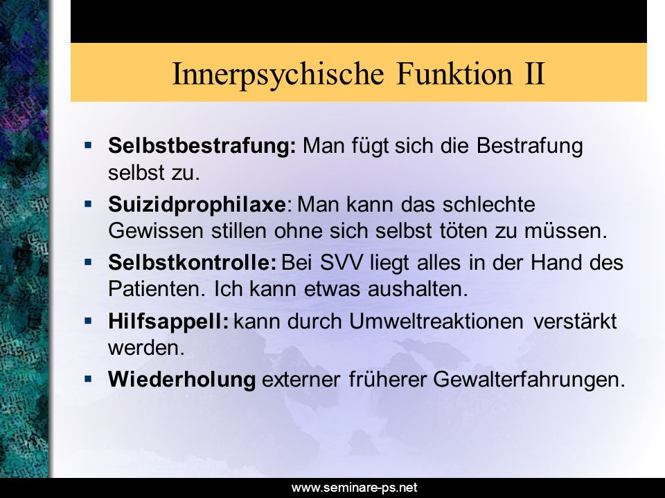 Innerpsychische Funktion II