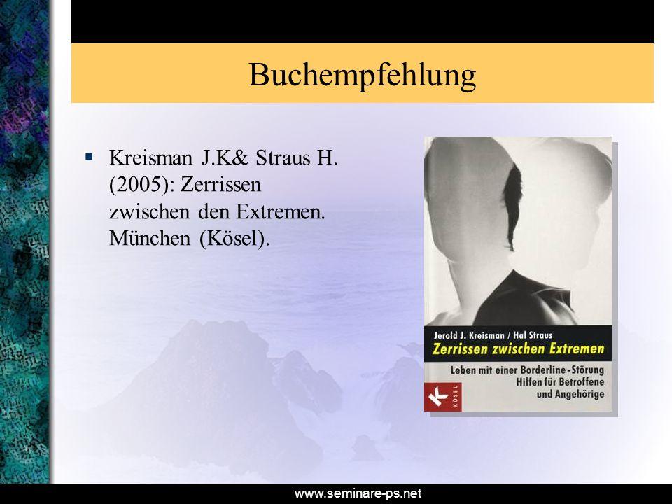 Buchempfehlung Kreisman J.K& Straus H. (2005): Zerrissen zwischen den Extremen. München (Kösel).