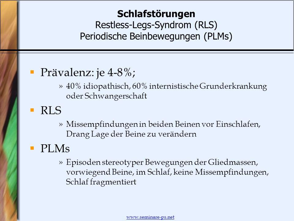 Prävalenz: je 4-8%; RLS PLMs