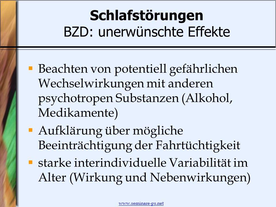 Schlafstörungen BZD: unerwünschte Effekte
