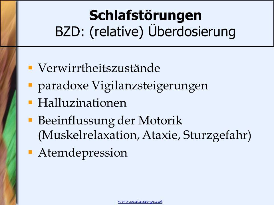 Schlafstörungen BZD: (relative) Überdosierung