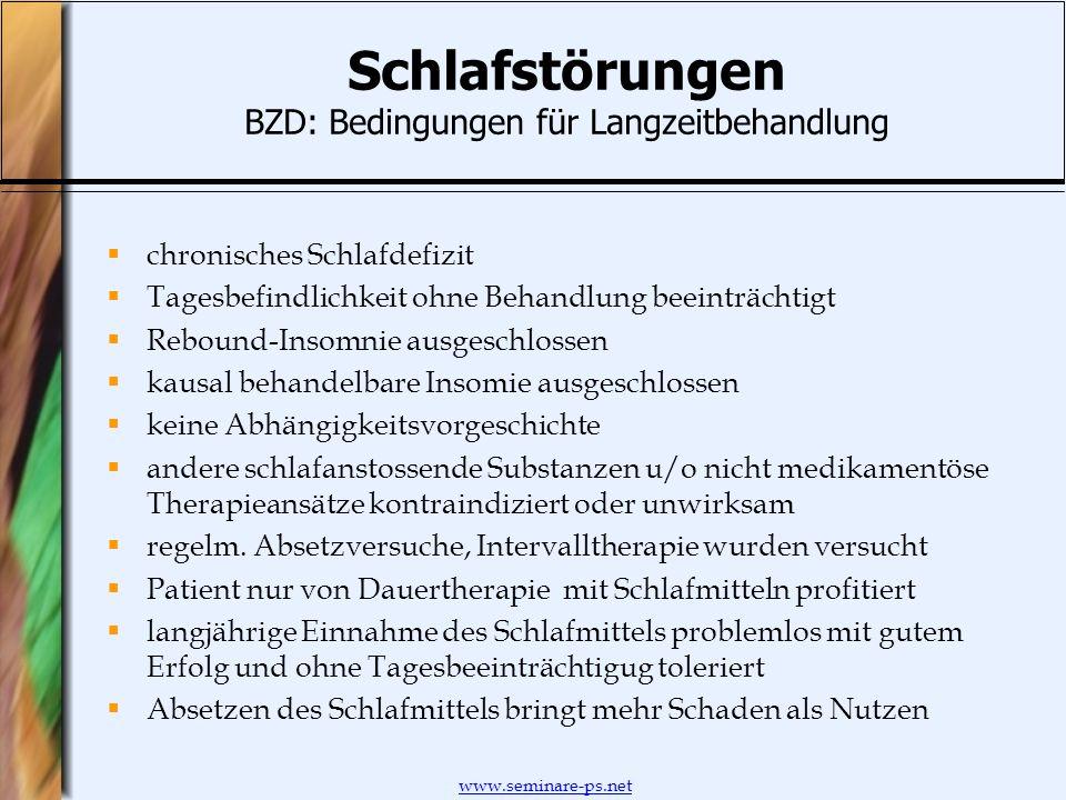 Schlafstörungen BZD: Bedingungen für Langzeitbehandlung