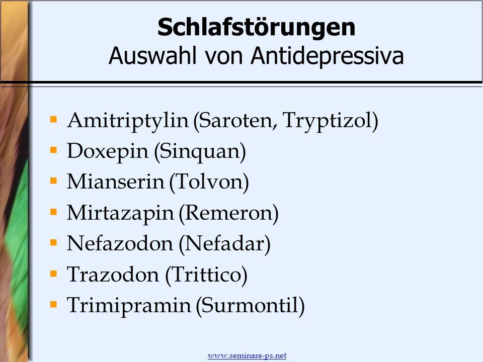 Schlafstörungen Auswahl von Antidepressiva