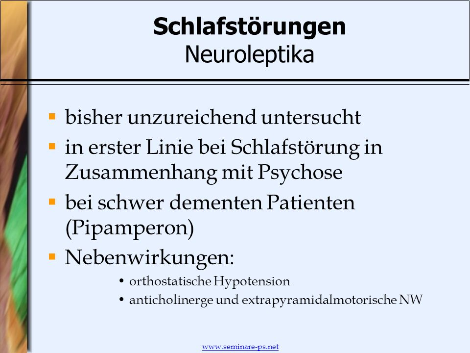 Schlafstörungen Neuroleptika