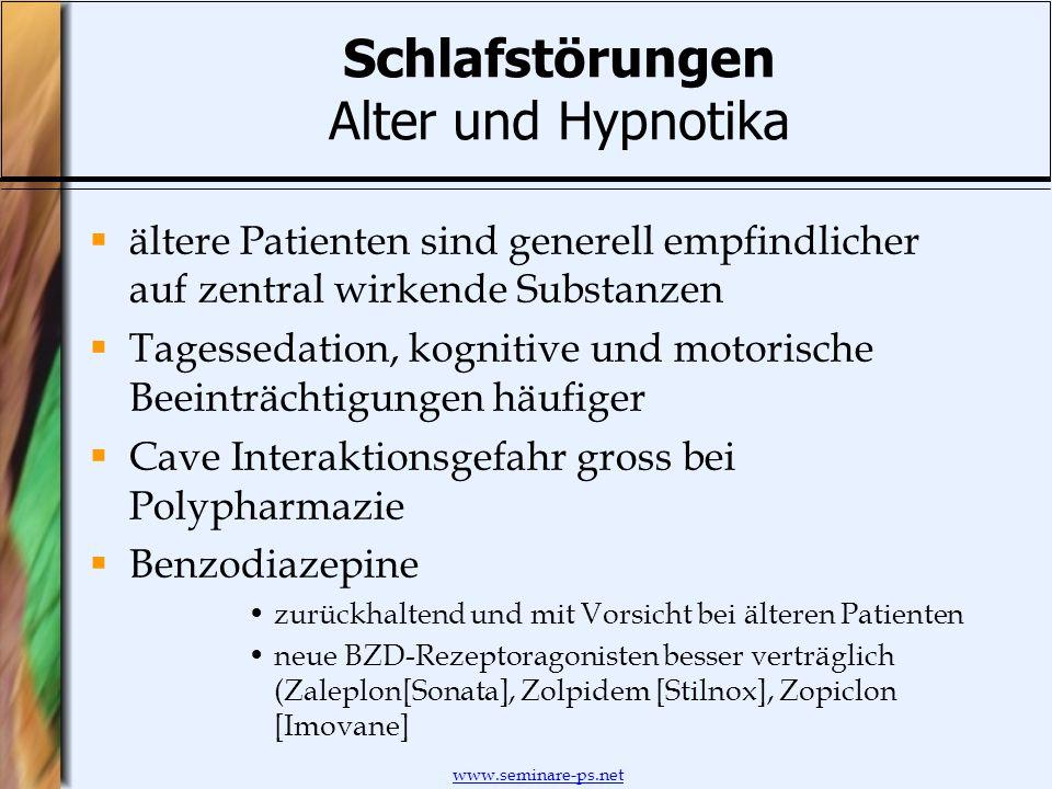 Schlafstörungen Alter und Hypnotika