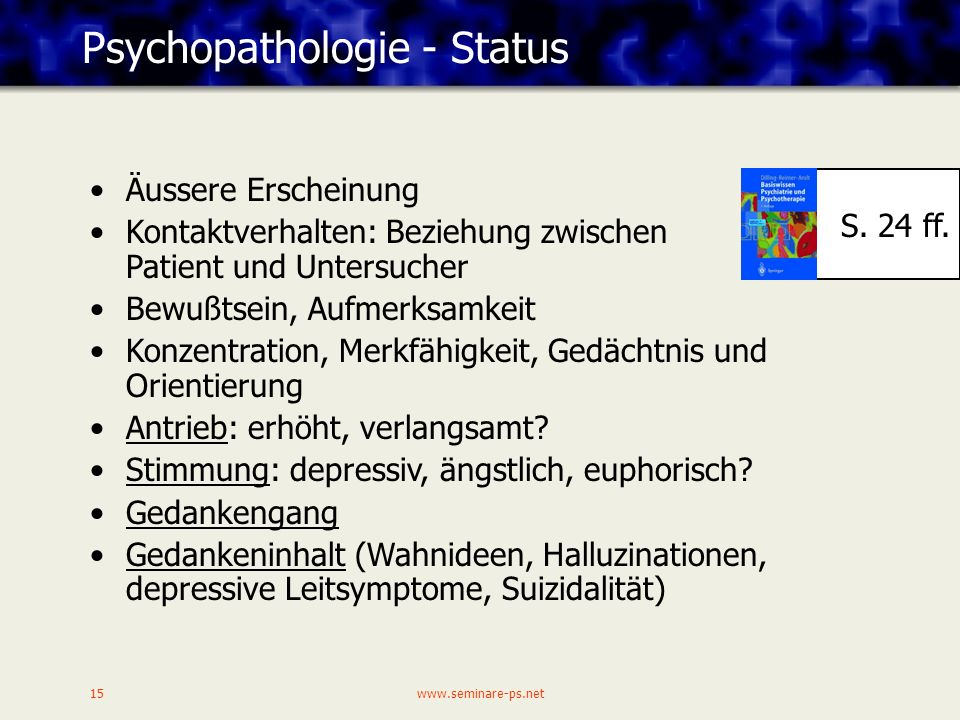 Psychopathologie - Status