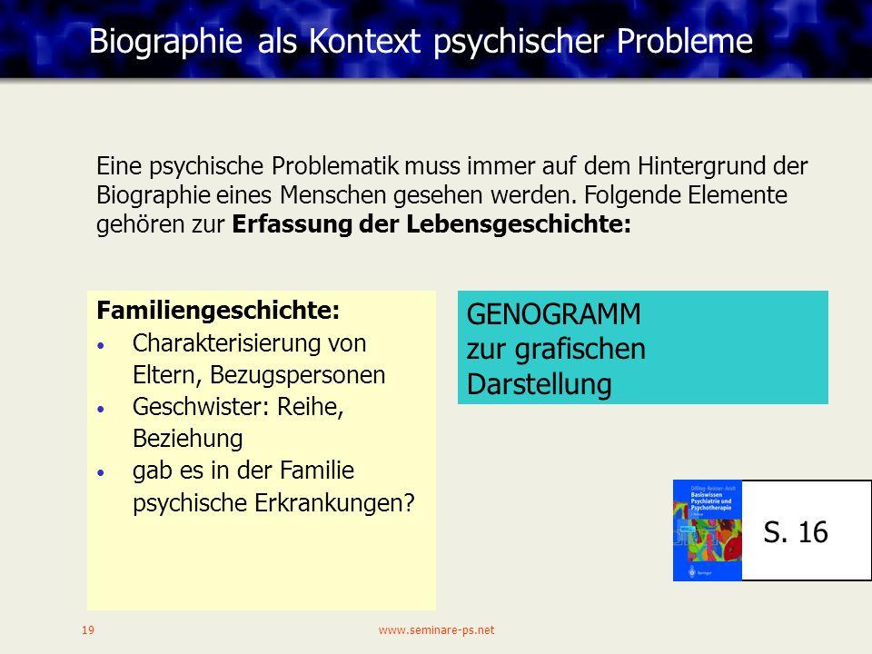 Biographie als Kontext psychischer Probleme