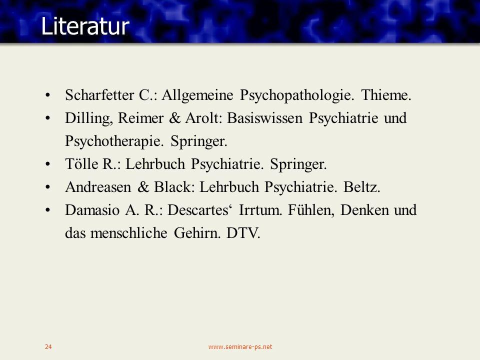 Literatur Scharfetter C.: Allgemeine Psychopathologie. Thieme.