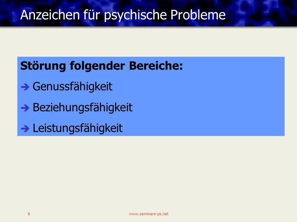 Anzeichen für psychische Probleme