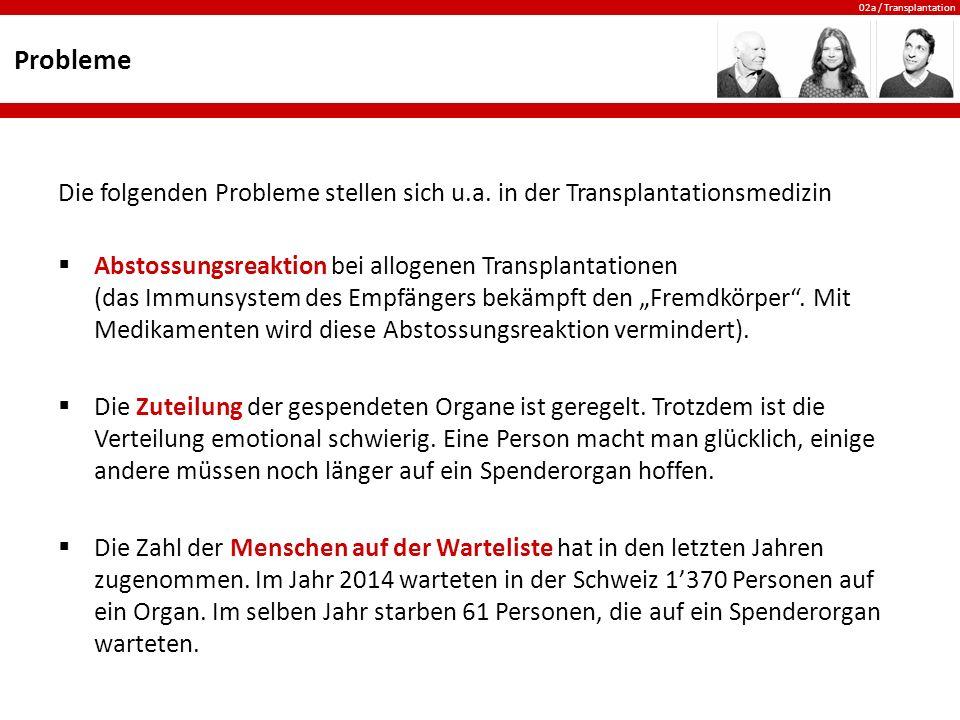 Probleme Die folgenden Probleme stellen sich u.a. in der Transplantationsmedizin.