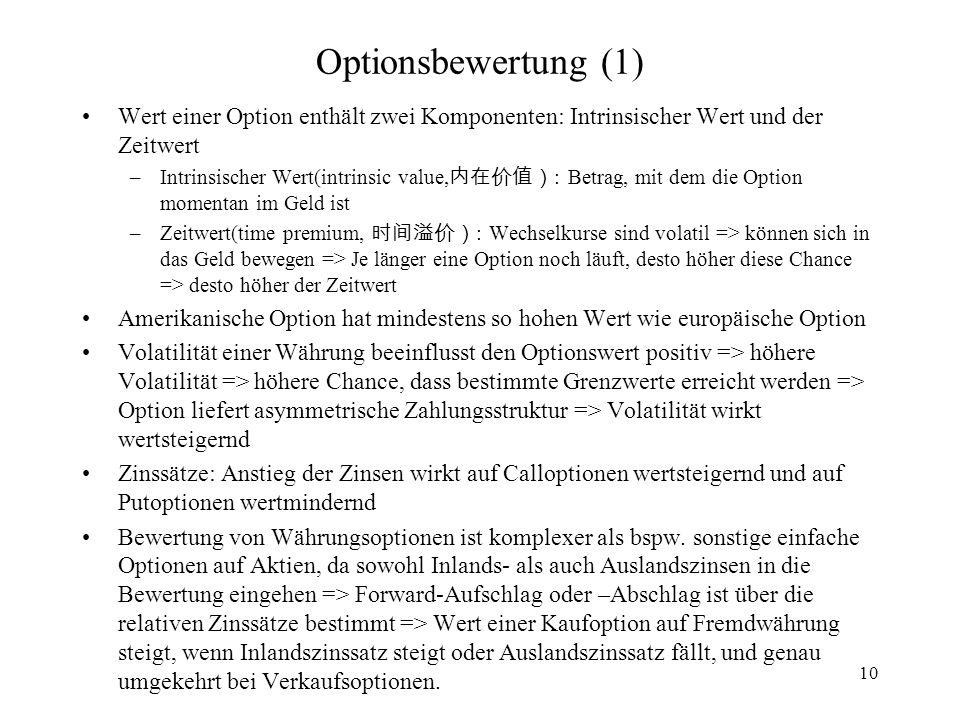 Optionsbewertung (1) Wert einer Option enthält zwei Komponenten: Intrinsischer Wert und der Zeitwert.