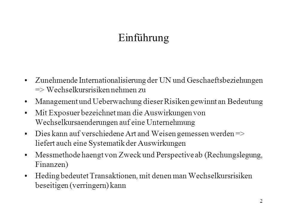 Einführung Zunehmende Internationalisierung der UN und Geschaeftsbeziehungen => Wechselkursrisiken nehmen zu.