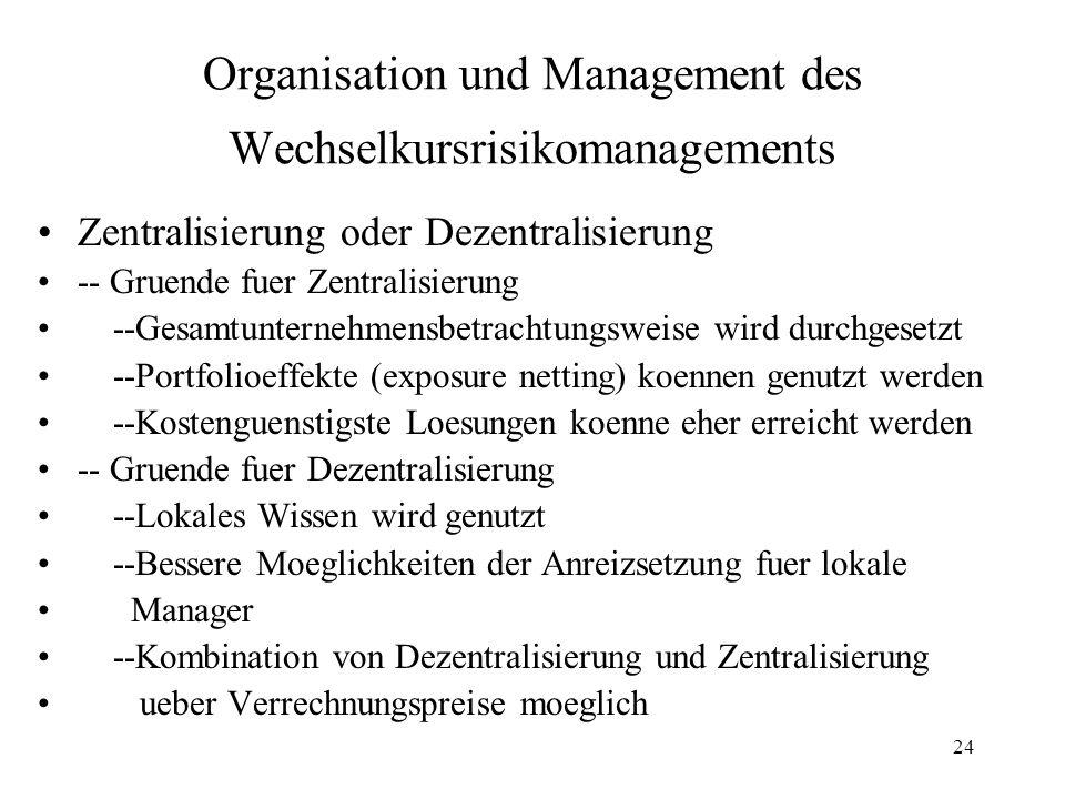 Organisation und Management des Wechselkursrisikomanagements