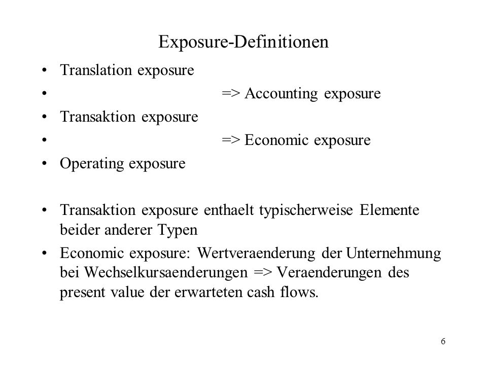 Exposure-Definitionen
