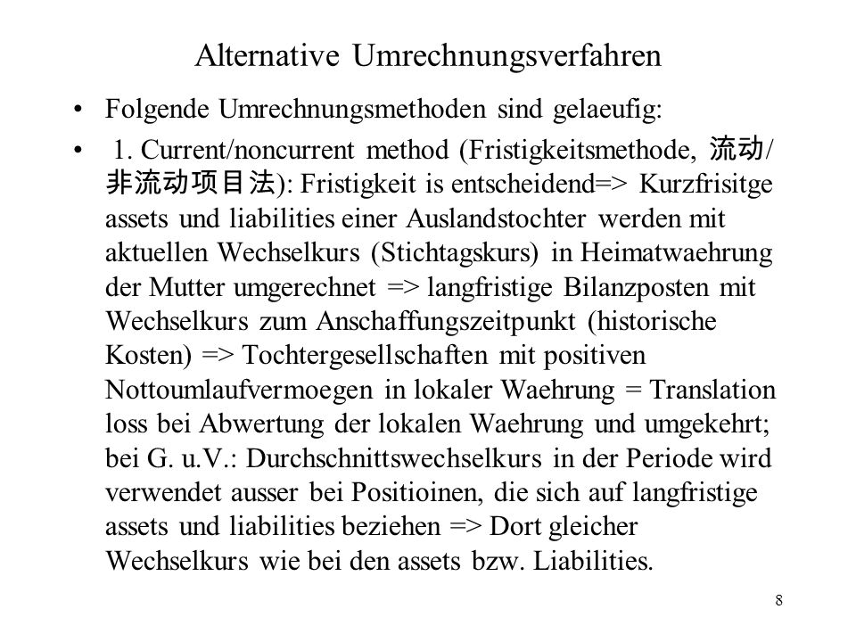 Alternative Umrechnungsverfahren