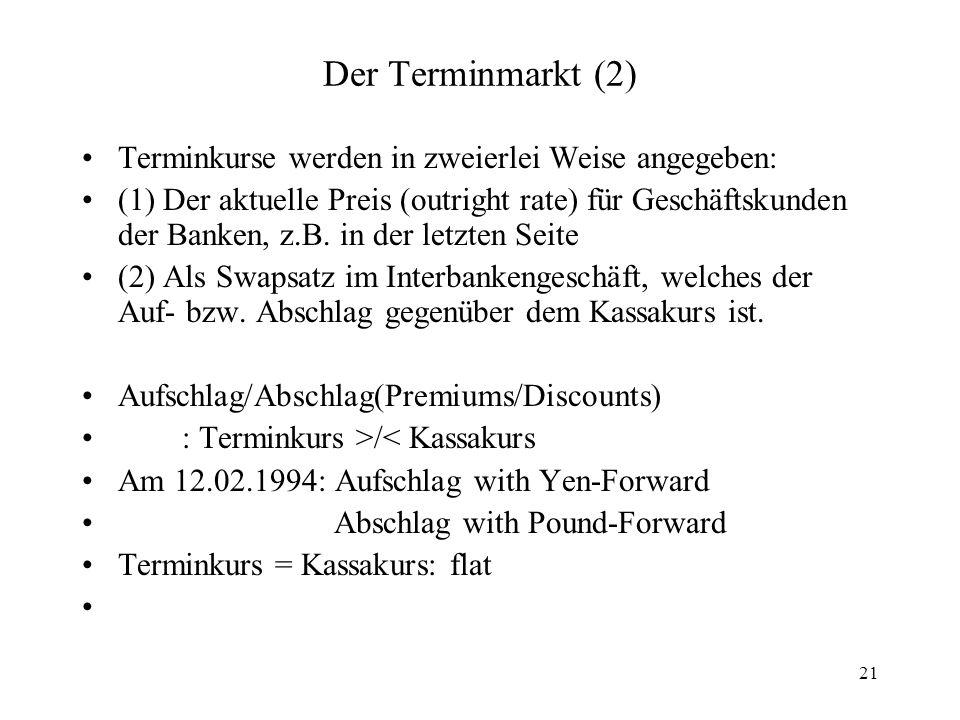 Der Terminmarkt (2) Terminkurse werden in zweierlei Weise angegeben: