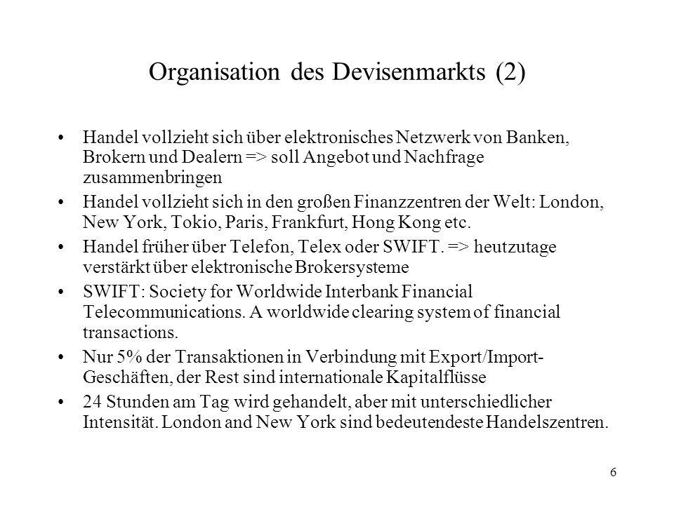 Organisation des Devisenmarkts (2)