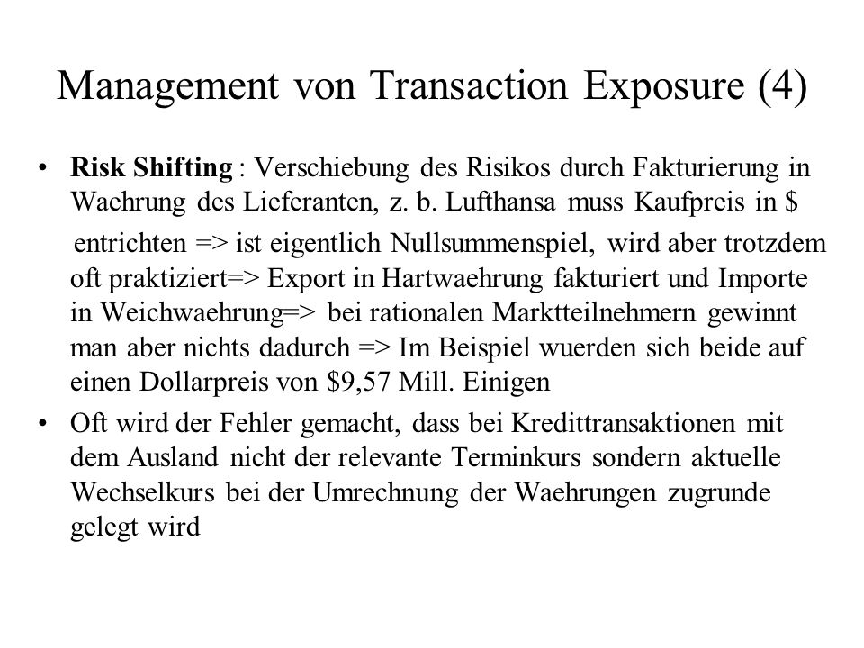Management von Transaction Exposure (4)