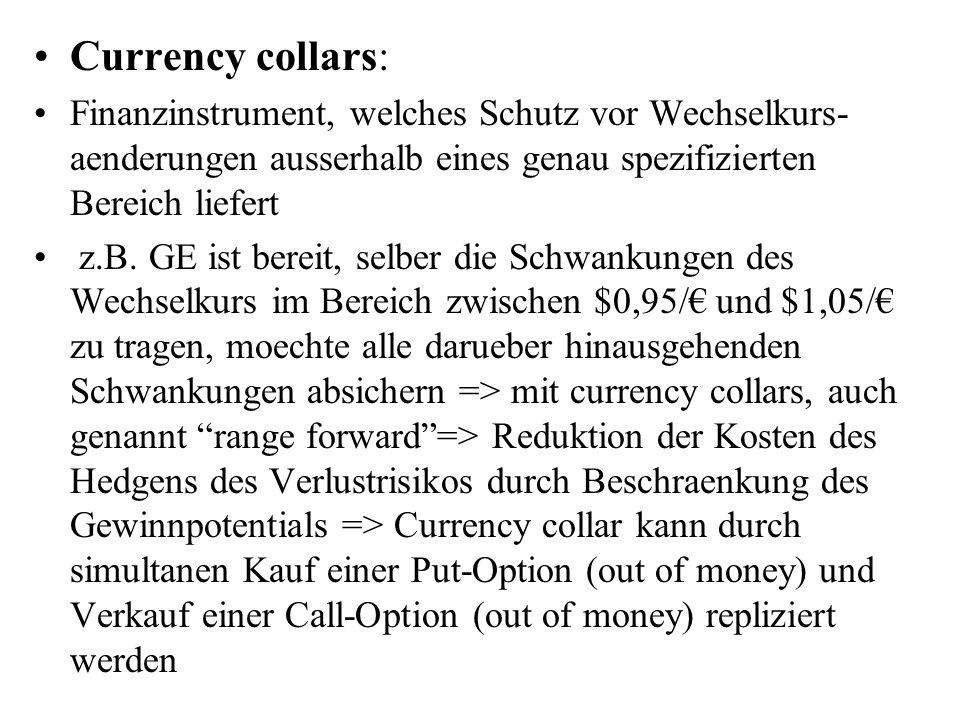 Currency collars: Finanzinstrument, welches Schutz vor Wechselkurs- aenderungen ausserhalb eines genau spezifizierten Bereich liefert.