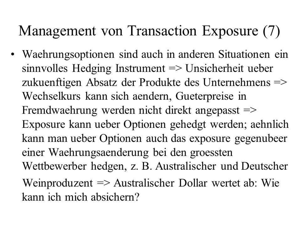 Management von Transaction Exposure (7)