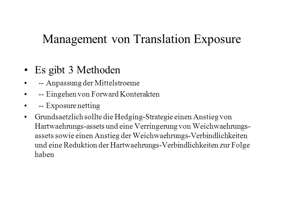 Management von Translation Exposure