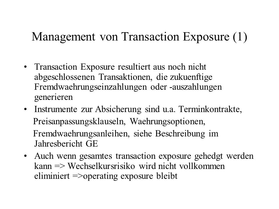 Management von Transaction Exposure (1)