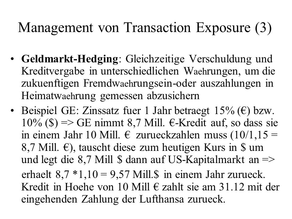 Management von Transaction Exposure (3)