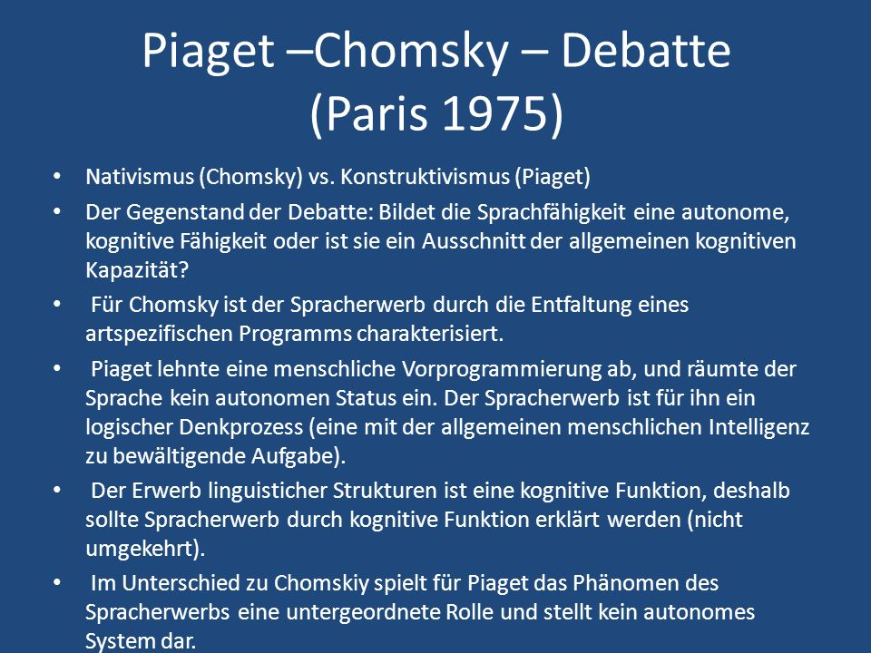 Piaget –Chomsky – Debatte (Paris 1975)