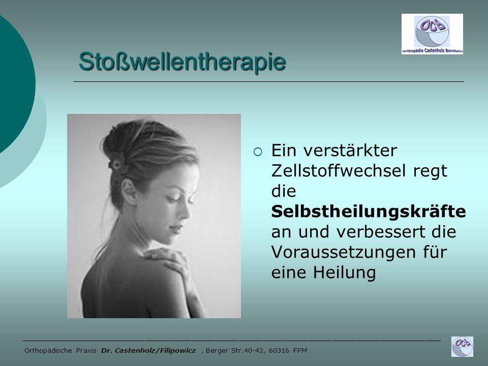 Stoßwellentherapie Ein verstärkter Zellstoffwechsel regt die Selbstheilungskräfte an und verbessert die Voraussetzungen für eine Heilung.