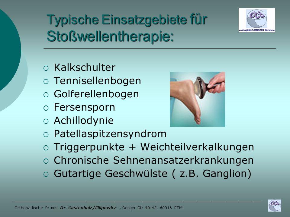 Typische Einsatzgebiete für Stoßwellentherapie: