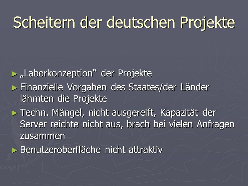 Scheitern der deutschen Projekte