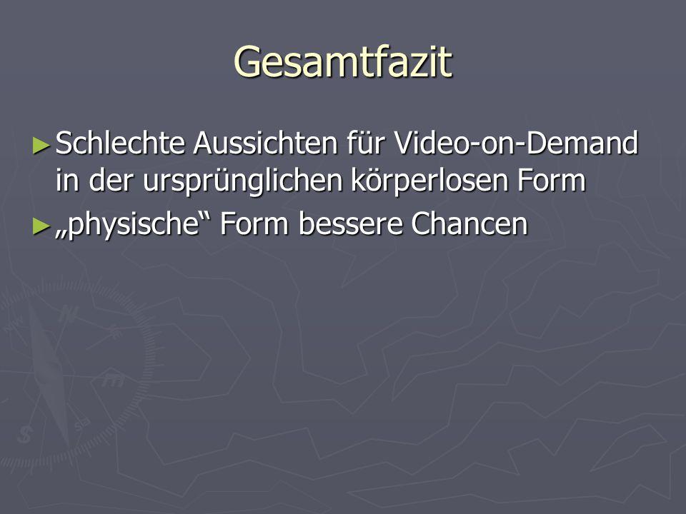 Gesamtfazit Schlechte Aussichten für Video-on-Demand in der ursprünglichen körperlosen Form.