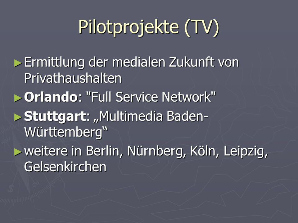 Pilotprojekte (TV) Ermittlung der medialen Zukunft von Privathaushalten. Orlando: Full Service Network