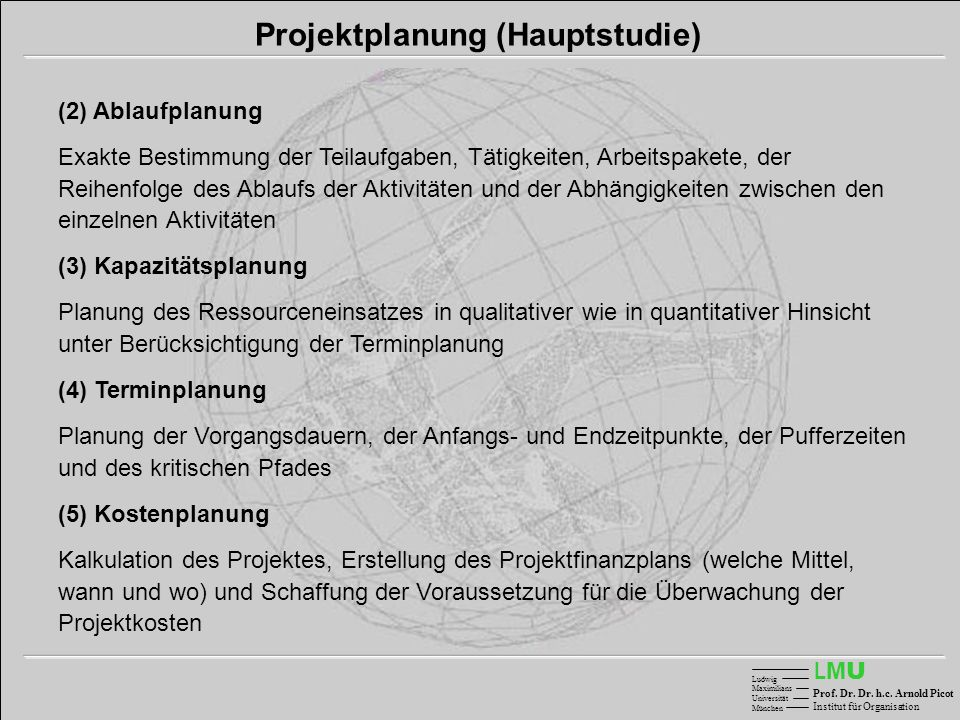 Projektplanung (Hauptstudie)