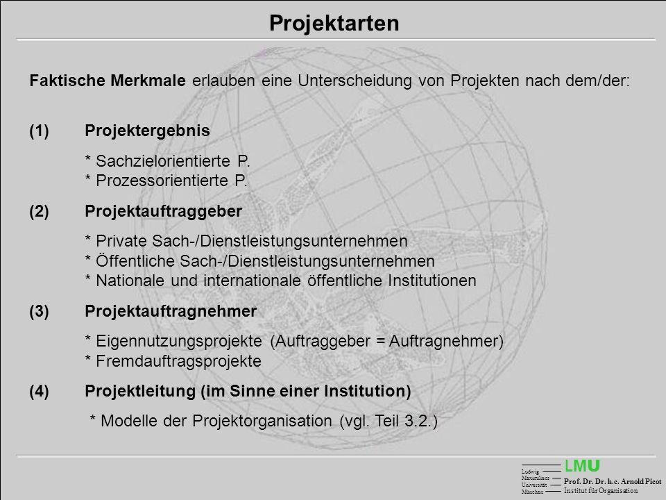 Projektarten Faktische Merkmale erlauben eine Unterscheidung von Projekten nach dem/der: (1) Projektergebnis.