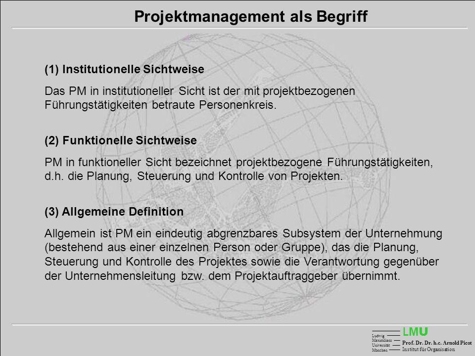Projektmanagement als Begriff