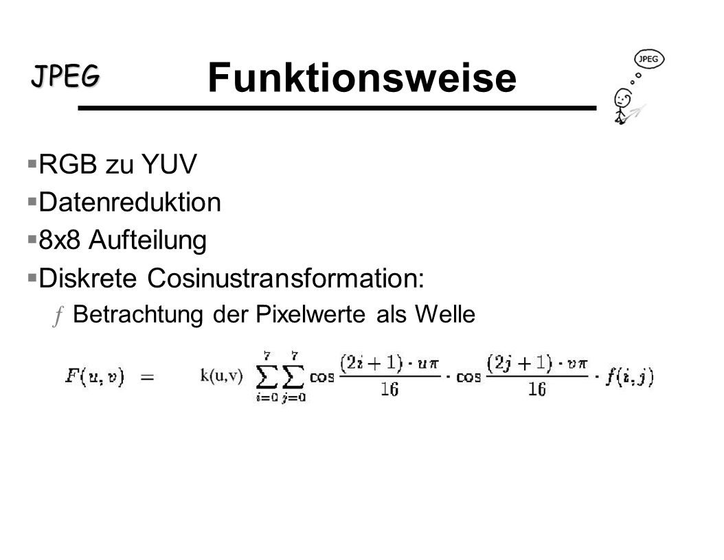 Funktionsweise RGB zu YUV Datenreduktion 8x8 Aufteilung