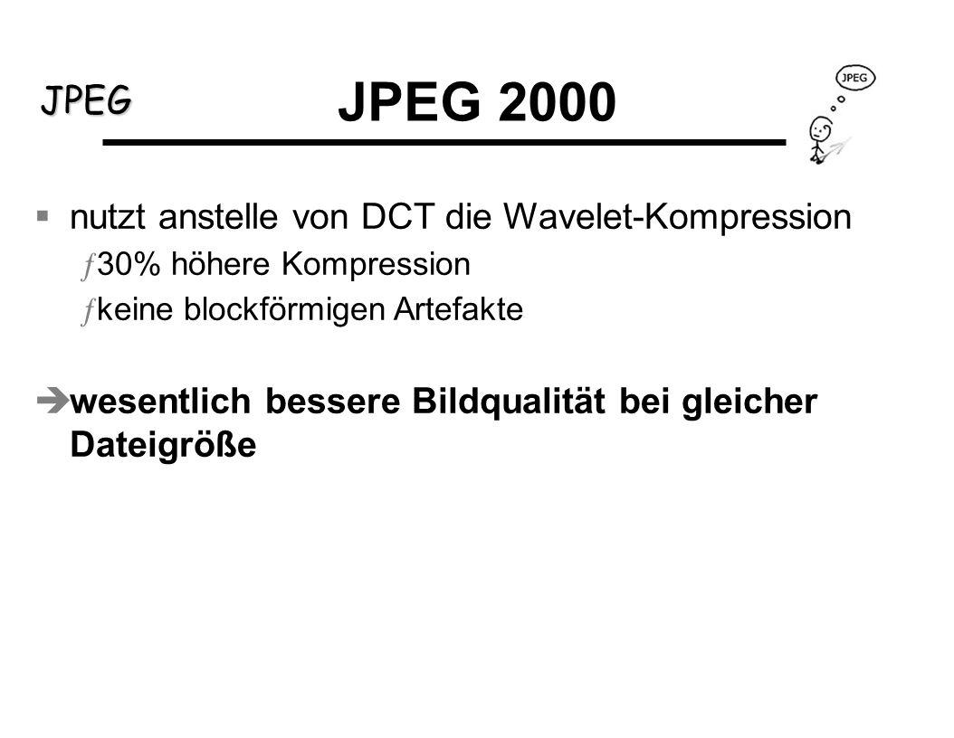 JPEG 2000 nutzt anstelle von DCT die Wavelet-Kompression