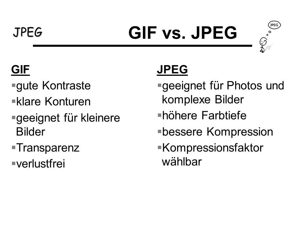 GIF vs. JPEG GIF gute Kontraste klare Konturen