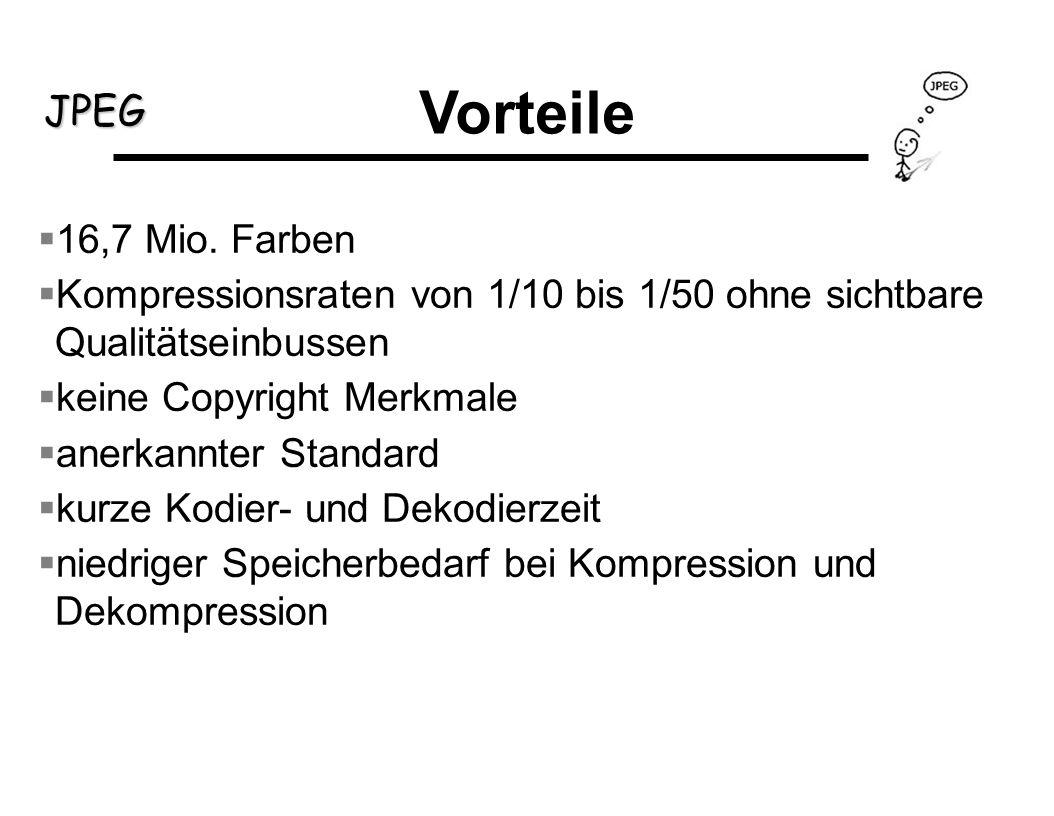 Vorteile16,7 Mio. Farben. Kompressionsraten von 1/10 bis 1/50 ohne sichtbare Qualitätseinbussen. keine Copyright Merkmale.