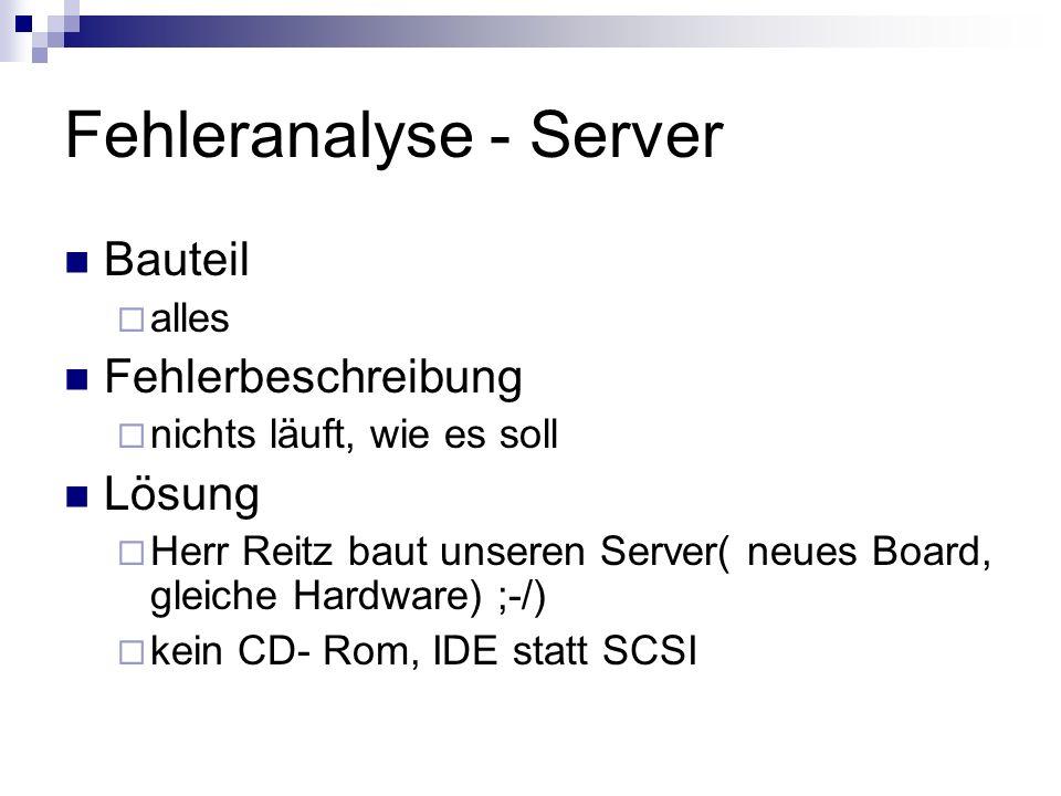 Fehleranalyse - Server
