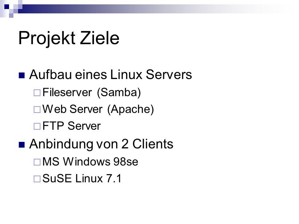 Projekt Ziele Aufbau eines Linux Servers Anbindung von 2 Clients