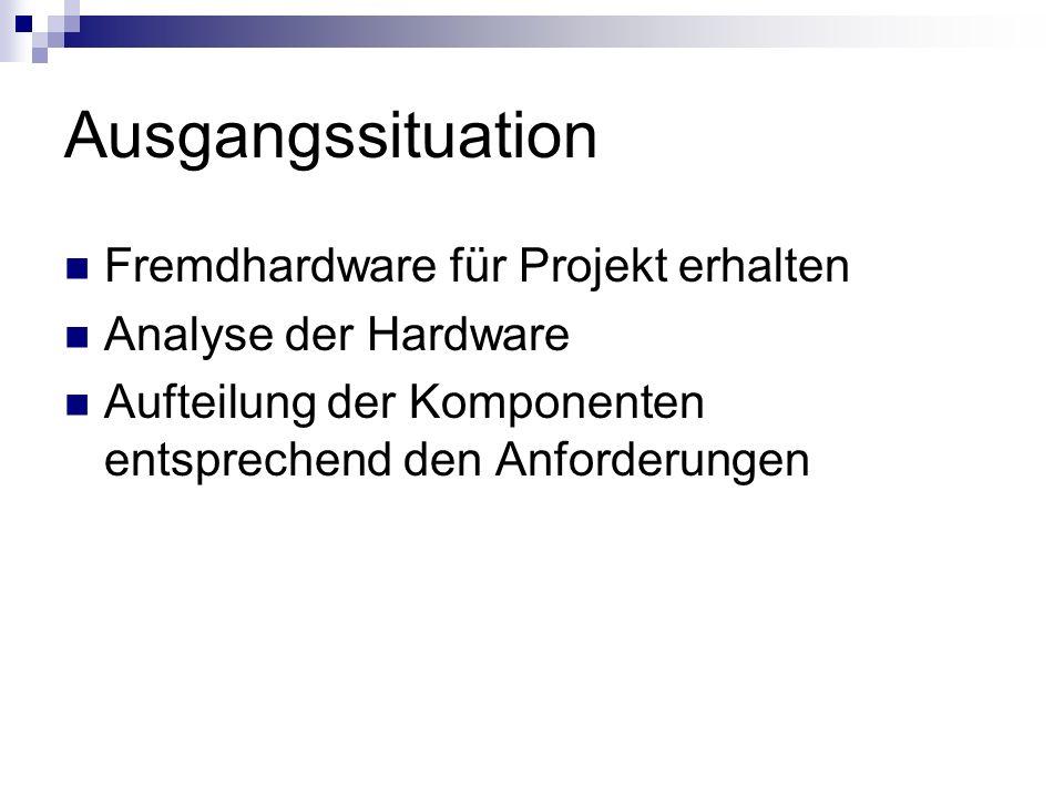 Ausgangssituation Fremdhardware für Projekt erhalten