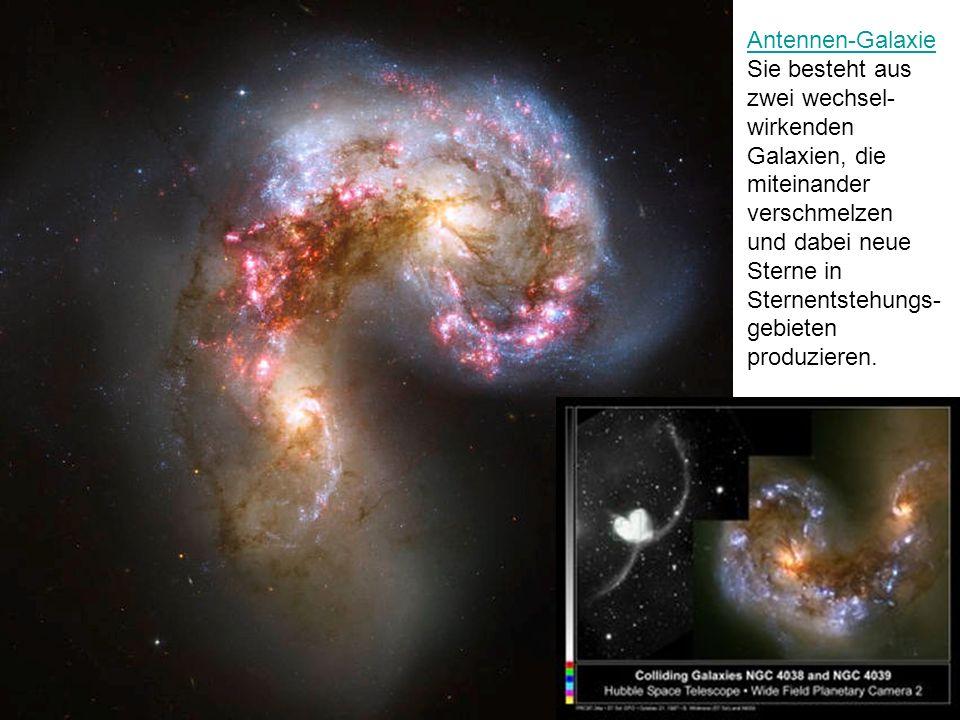 Antennen-Galaxie Sie besteht aus zwei wechsel-wirkenden Galaxien, die miteinander verschmelzen