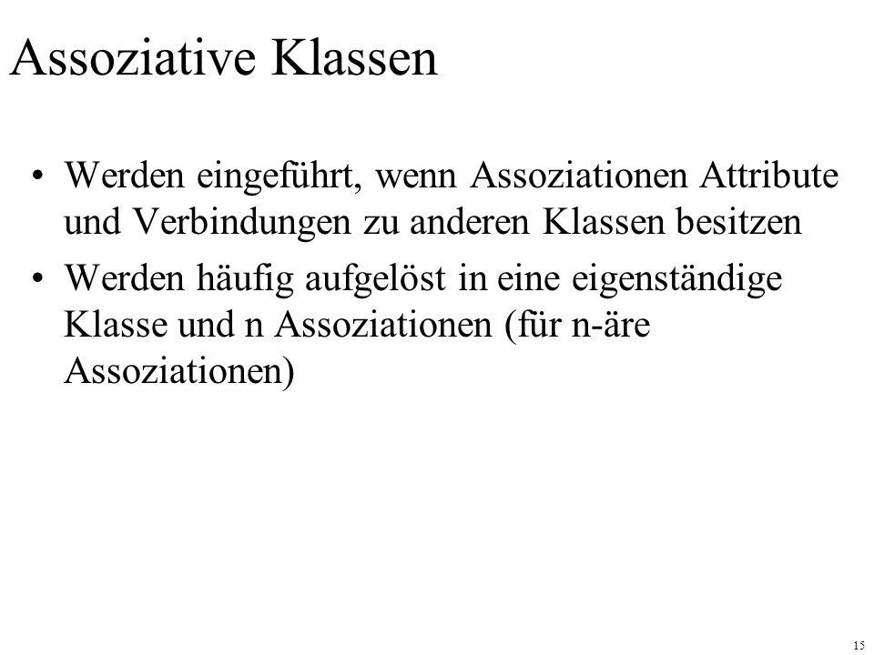 Assoziative Klassen Werden eingeführt, wenn Assoziationen Attribute und Verbindungen zu anderen Klassen besitzen.